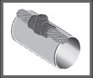 Cable pasante horizontal sobre tubo paralelo
