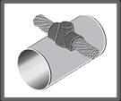 Cable pasante horizontal sobre tubo perpendicular